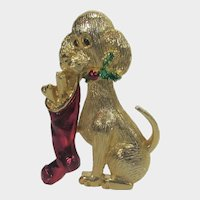 Vintage Gerrys Gold Tone Puppy Holding a Christmas Stocking