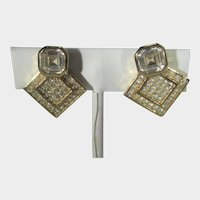 Christian Dior Signed Goldtone Clip On Earrings With Various Crystals
