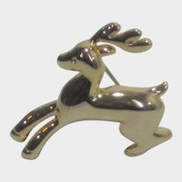 Gold Tone Reindeer Pin