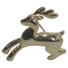 Gold Tone Reindeer Pin
