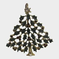 Christmas Tree Pin Made up Of Green Holly and Red Berries in Gold Tone