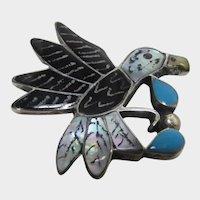 Native American Zuni Artist Edward Leekity Sterling Silver Eagle Pin or Pendant