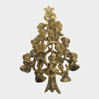 Lovely Christmas Tree Pin in  Goldtone Made up Entirely of Golden Angels