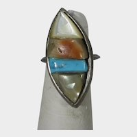 Native American Sterling Silver Ring With Inlaid Coral, Turquoise,and Mother of Pearl