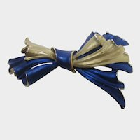 Vintage Bow Pin in Brushed Blue and Gold Tone Enamel