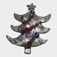 Christmas Tree Pin in Pewter Tone With Dimensional Bead Garland