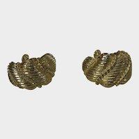 Vintage Napier Gold Tone Clip On Hoop Earrings