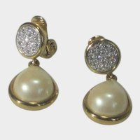 Vintage Monet Gold Tone and Faux Pearl Clip On Earrings Enhanced with Pave Crystals