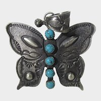 Native American Navajo Artist E. L. Billah Sterling Silver Butterfly Pendant With Kingman Turquoise