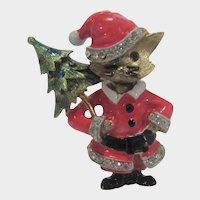 VIntage JJ Christmas Kitty Brings Home The Tree Pin