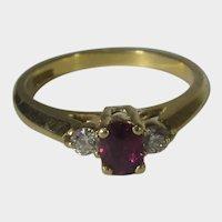18 Karat Yellow Gold Ruby and Diamond Ring