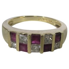 14 Karat Yellow Gold Ruby and Diamond Checkerboard Ring by Samuel Aaron