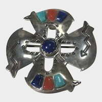 Native American Navajo Artist Signed Sterling Silver Inlaid Pin or Pendant
