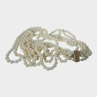 Natural Angel Skin Coral Bead Necklace with 14 Karat Yellow Gold Clasp