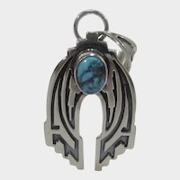 Native American Artist Randy BIlly Sterling Silver Pendant with Kingsman Turquoise Accent