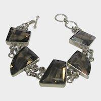 Sterling Silver Smoky Quartz Bracelet With Five Unique Gemstones