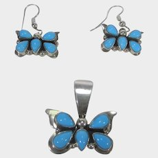 Darren Livingston Native American Navajo Sterling Silver Matching Pendant and  Pierced Earring