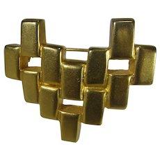 Robert Lee Morris Modernist Brushed Goldtone Pin