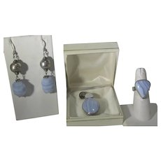 Sterling Silver Blue Agate and Opal Set With Pendant, Ring and Earrings for Pierced Ears
