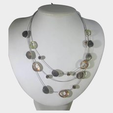 Vintage Modernist Necklace With Floating Crystal Effect in Silver Tone