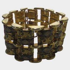 Vintage Gold Tone Damascene Style Bracelet