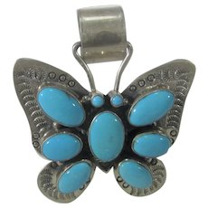 Native American David Livingston Sterling Silver Butterfly Pendant with Sleeping Beauty Turquoise