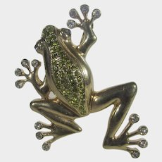 Vintage Gold Tone Frog Pin With Green Crystal Body and Clear Crystal Accents