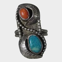 Native American Sterling Silver Ring With Red Coral and Turquoise