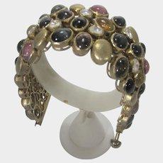 Sterling Silver Gemstone Bracelet in Gold Wash With Many Gemstones