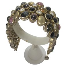 Sterling Silver Gemstone Bracelet in Gold Wash With Many Gemstones
