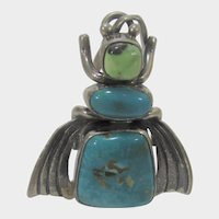 Native American Paul Livingston Navajo Sterling Silver Bug Pendant with Turquoise