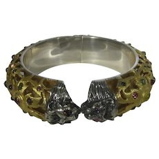 Sterling Silver Gemstone Bangle in Gold Wash Hinged With Lion's Heads
