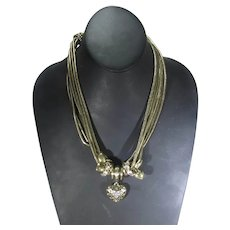 Vintage Multi Chain Necklace with Heart Center Pendant and Lots of Other Charms