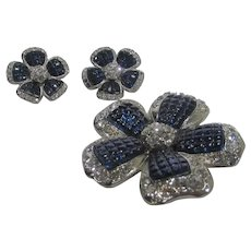 Signed Avon Matching Pin and Earring for Pierced Ear Set With Faux Sapphires and Clear Crystals
