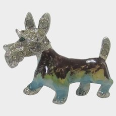 Enamelled Scottie Pup Pin With Clear Crystal Head