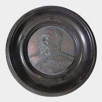 King Edward VII Memorial Picture on Metal in Wood Frame
