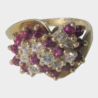 14 Karat Yellow Gold Ruby and DIamond Ring