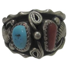 Native American Sterling Silver Ring With Turquoise and Red Coral With Fine Silver Work