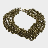 Vintage Five Strand Chunky Gold Tone Necklace With Toggle Closure