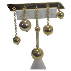 Ben Amun Statement Pin With Five Gold Tone Ball Drops