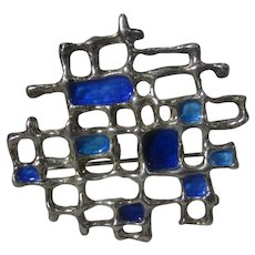 David Andersen Norway Sterling Silver Enamelled Modernist Pin or Pendant in Hues of Blue