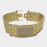 Gold Tone Link Bracelet With Pave CZ's Signed