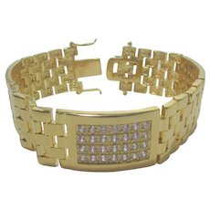 Gold Tone Link Bracelet With Pave CZ's Signed