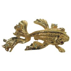 Graziano Gold Tone Angel Fish With Red Crystal Eyes and Clear Crystal Accents