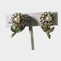Mic Century Enamelled Floral Clip On Earrings With Faux Pearl Center