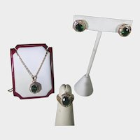 Costume Ring, Necklace and Earrings for Pierced Ears Matching Set Gold Filled With Green and White Crystals