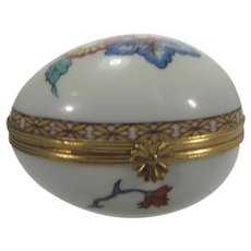 Bernardaud Limoges Egg Shaped Hand Painted Trinket Box