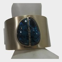 Kenneth Cole Wide Cuff With Stunning Peacock Stone With Crystal Enhancements