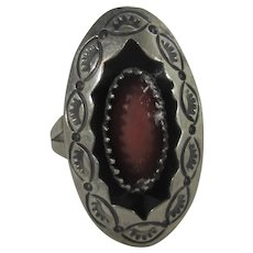 Sterling Silver Navajo Ring With Inset Coral Cabochon