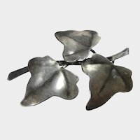 Sterling Silver Artists Signed Mid Century Leaves and Branch Pin